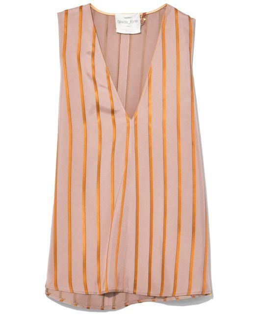 Giada Forte | Orange Viscose Stripe Top In Magnolia | Lyst