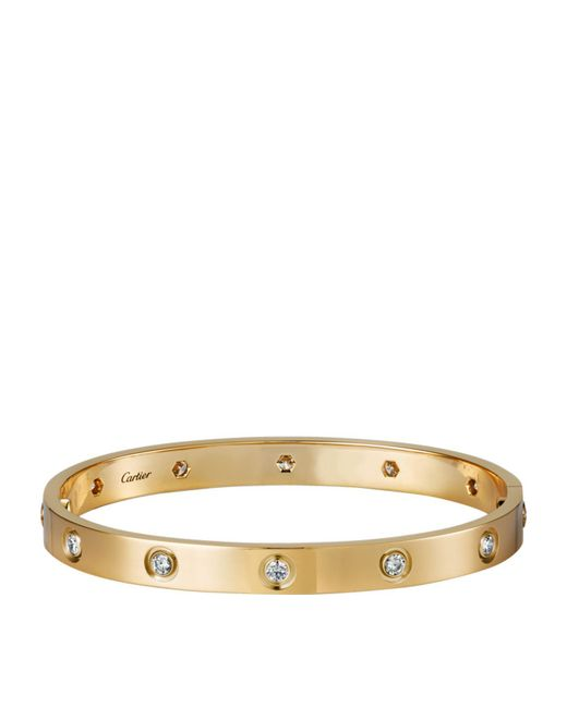 Cartier - Metallic Yellow Gold Diamond Love Bracelet - Lyst