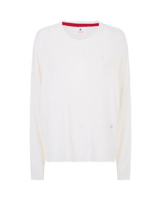 Sundry - White Heart Appliqu Sweater - Lyst