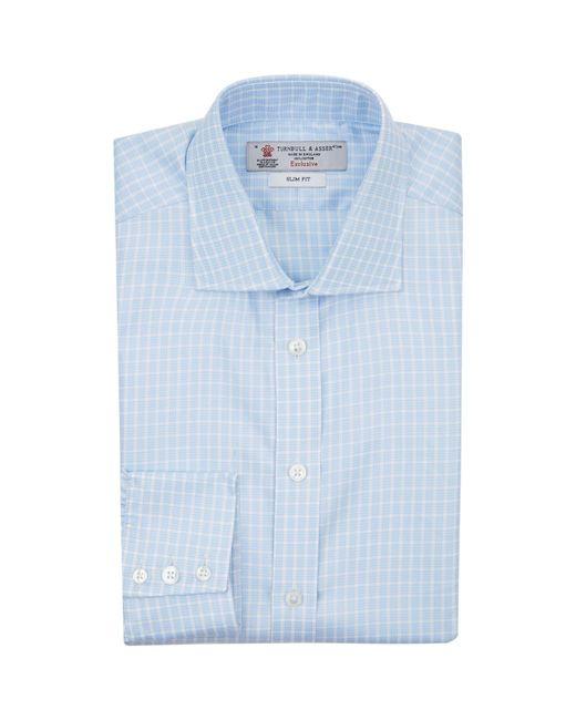 Turnbull & Asser | Blue Mini Houndstooth Stripe Slim Fit Shirt for Men | Lyst