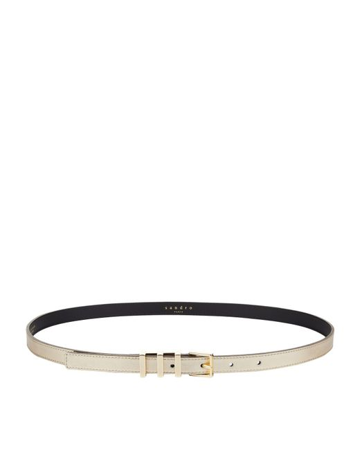 Sandro - Yellow Ariane Leather Belt - Lyst