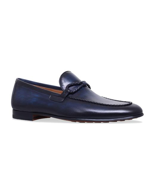 Magnanni Shoes Blue Leather Loafers for men
