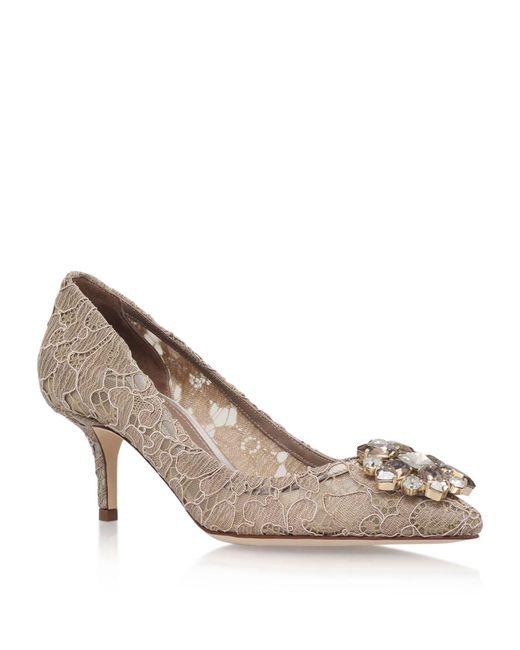 a9af7da4e63e Dolce   Gabbana Rosa Embellished Lace Pumps 60 in Brown - Lyst