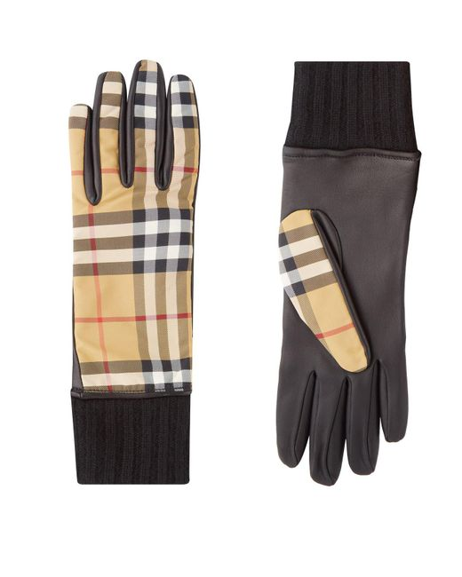 Burberry - Yellow Cashmere-lined Vintage Check And Lambskin Gloves - Lyst