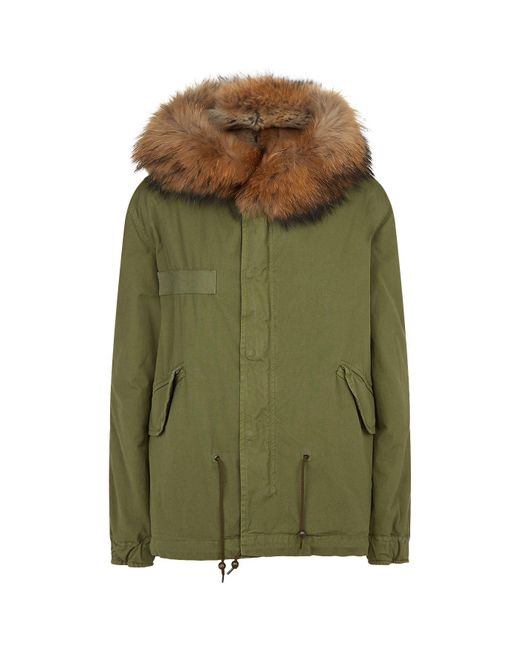 Mr & Mrs Italy - Green Coyote Fur Trim Army Parka - Lyst