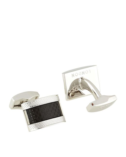 Tateossian | Metallic D-shape Carbon Cufflinks for Men | Lyst