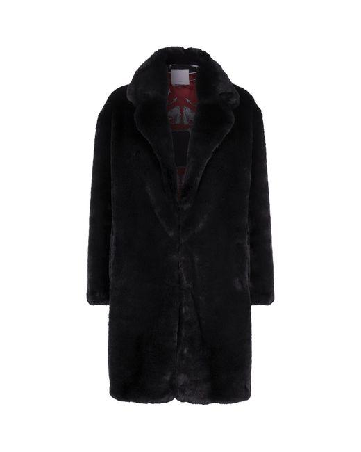 Sandro - Black Oversized Faux Fur Coat - Lyst