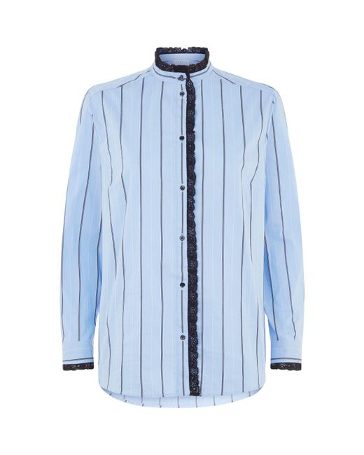 Sandro - Blue Lace Trimmed Striped Shirt - Lyst
