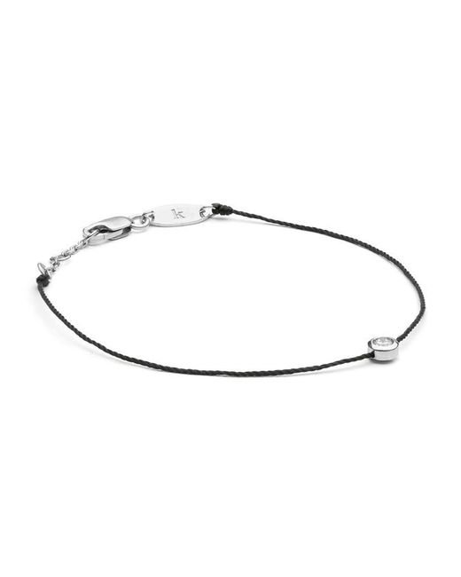 RedLine | White Gold And Diamond Pure Bracelet With Black Thread | Lyst