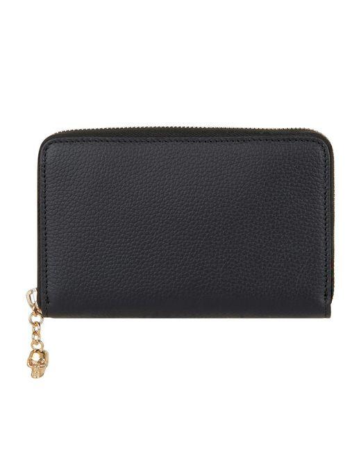 Alexander McQueen - Black Leather Skull Zip Wallet - Lyst