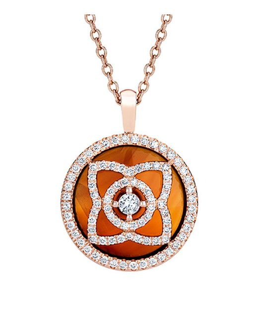 De Beers - Metallic Rose Gold And Carnelian Enchanted Lotus Pendant - Lyst