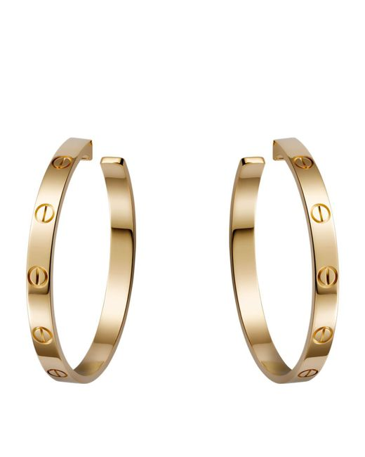 Cartier - Metallic Yellow Gold Love Hoop Earrings - Lyst