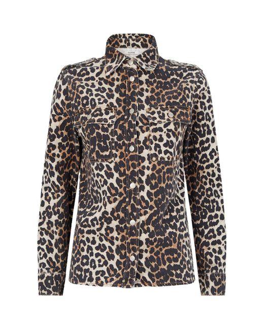 Ganni Brown Leopard Print Shirt Jacket