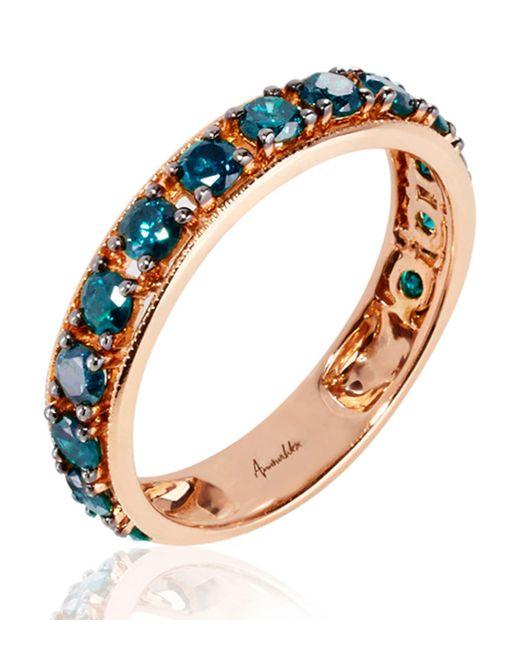 Annoushka - Metallic 18ct Rose Gold Dusty Diamonds Blue Diamond Eternity Ring - Lyst