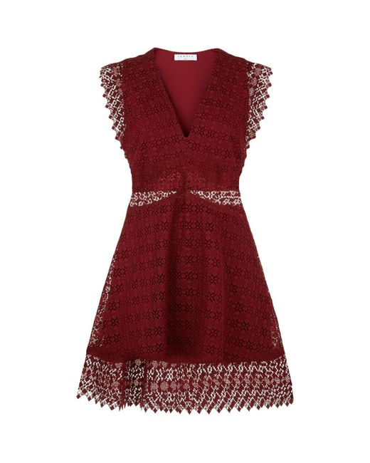 Sandro | Red Lace Skater Dress | Lyst
