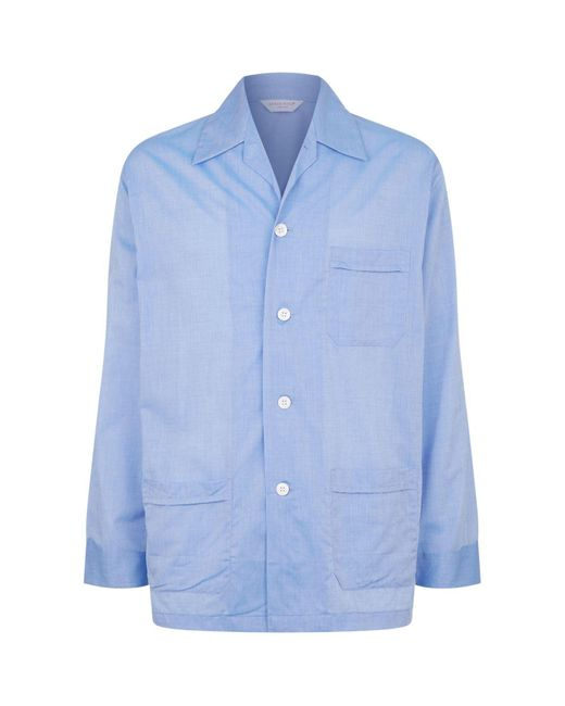 Derek Rose Blue Amalfi Classic Fit Pyjama Set for men