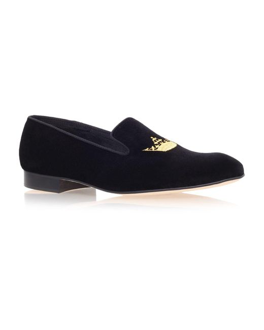 Church's Black Sovereign Crown Velvet Loafers for men
