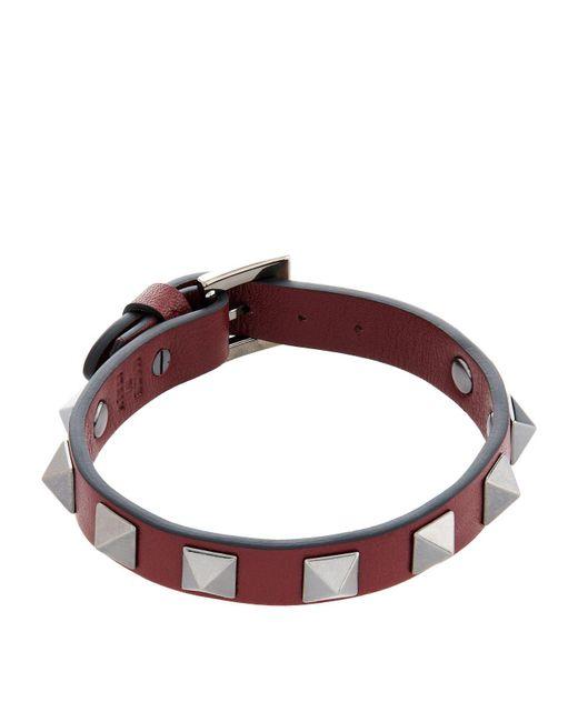 Valentino | Red Leather Rockstud Bracelet for Men | Lyst