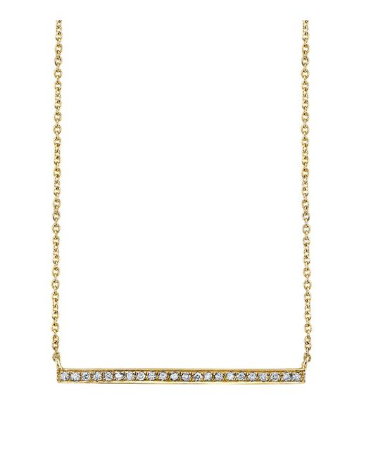 Sydney Evan - White Yellow Gold And Diamond Long Bar Necklace - Lyst