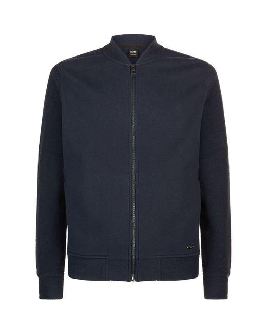 BOSS Orange - Blue Zip-up Sweatshirt for Men - Lyst