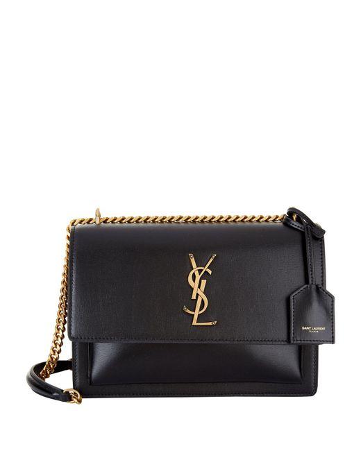 Saint Laurent - Black Medium Leather Sunset Shoulder Bag - Lyst