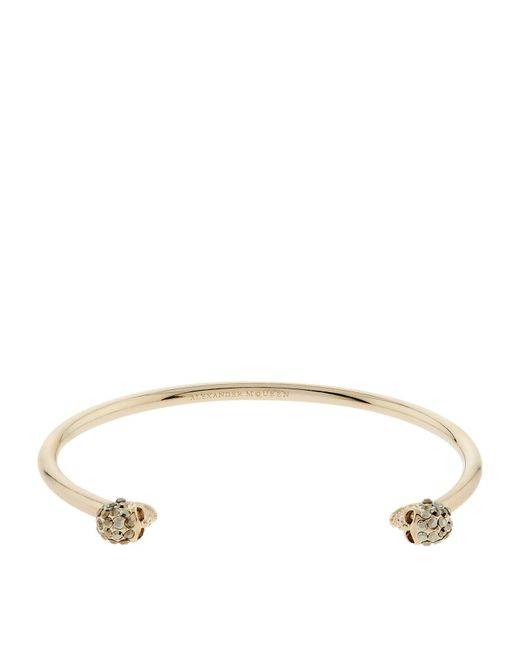 Alexander McQueen | Metallic Thin Skull Embellished Bracelet | Lyst