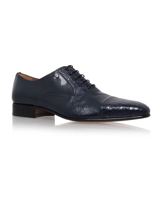 Stemar - Blue Toe Cap Croc And Leather Oxford for Men - Lyst