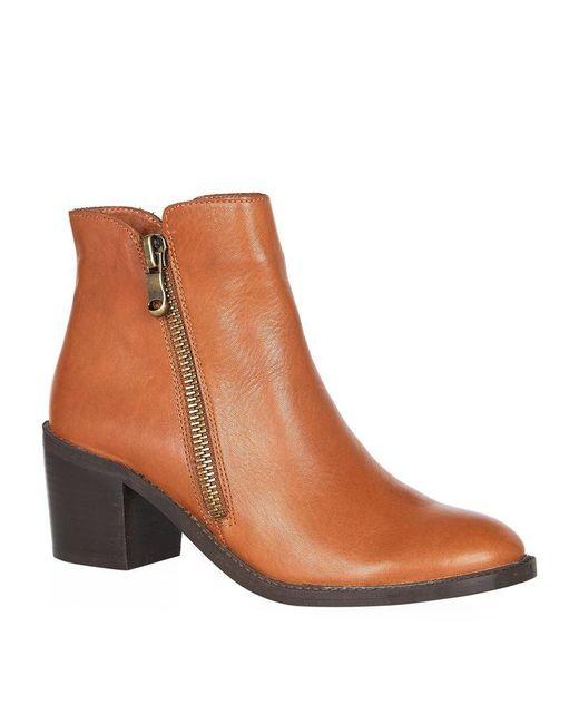 Carvela Kurt Geiger | Brown Skim Heeled Leather Ankle Boots | Lyst