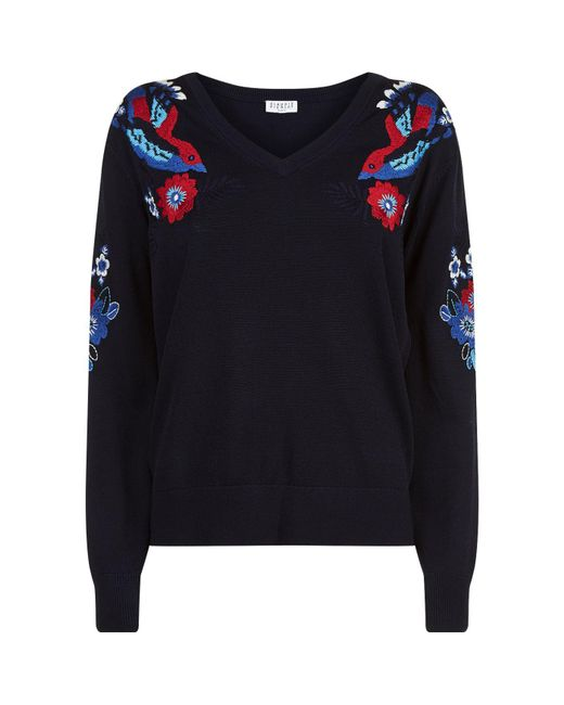 Claudie Pierlot - Blue Embroidered Knitted Sweater - Lyst