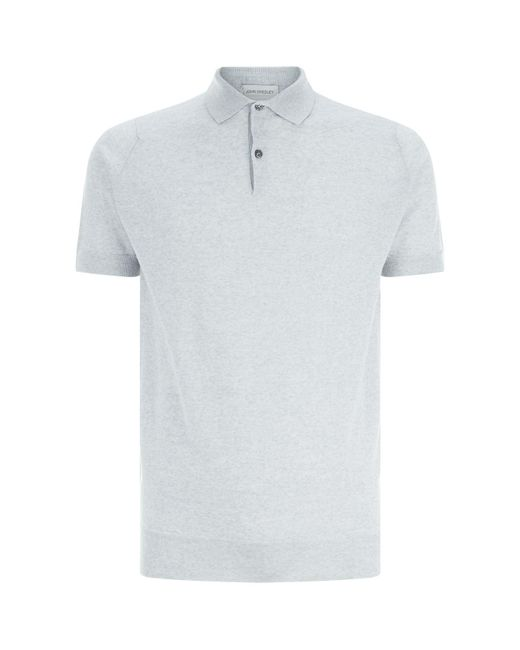 John Smedley - Gray Knitted Payton Polo Top for Men - Lyst