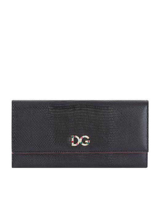 b37381f33ac5 Dolce   Gabbana Embellished Logo Continental Wallet in Black - Lyst