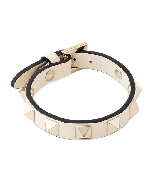 Valentino | White Leather Rockstud Bracelet | Lyst