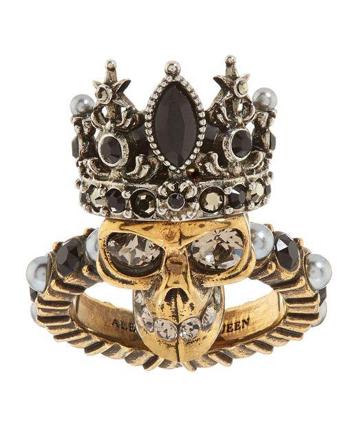 Alexander McQueen   Metallic Queen Skull Ring   Lyst