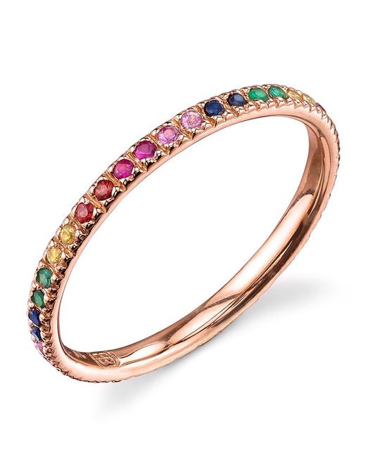 Sydney Evan | Metallic Rose Gold Rainbow Ring | Lyst