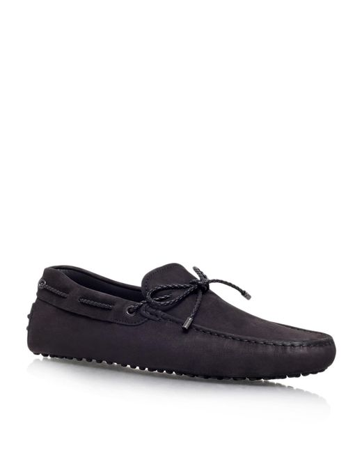 Tod's - Black Laced Gommino Nubuck Driving Shoe for Men - Lyst