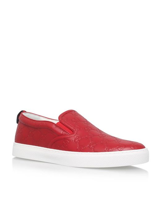 Lyst - Gucci Dublin Logo Skater Shoes in Red for Men ... - photo #22