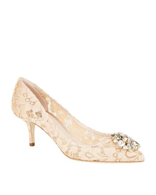 Dolce & Gabbana | Pink Bellucci Embellished Lace Pumps | Lyst