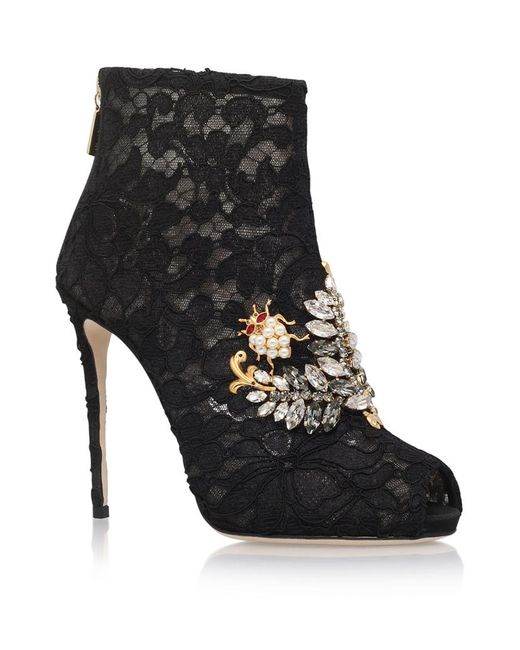 Dolce & Gabbana | Black Embellished Lace Ankle Boots | Lyst