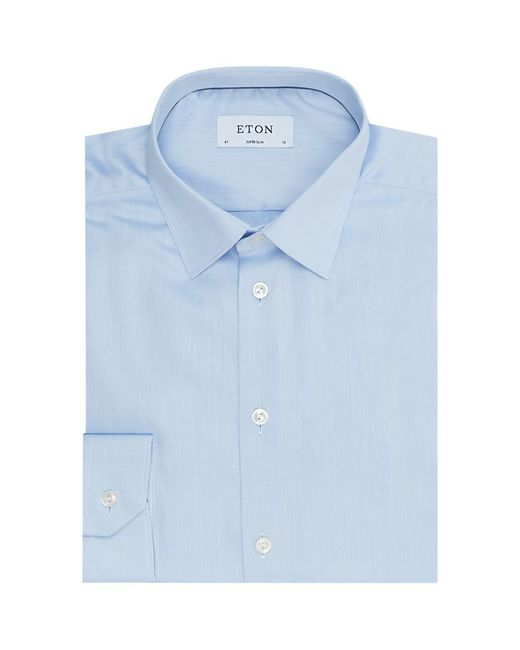 Eton Of Sweden Super Slim Fit Cotton Twill Shirt In Blue