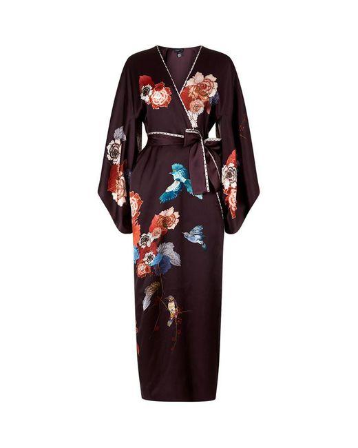 Meng | Multicolor Floral Printed Long Silk Kimono | Lyst