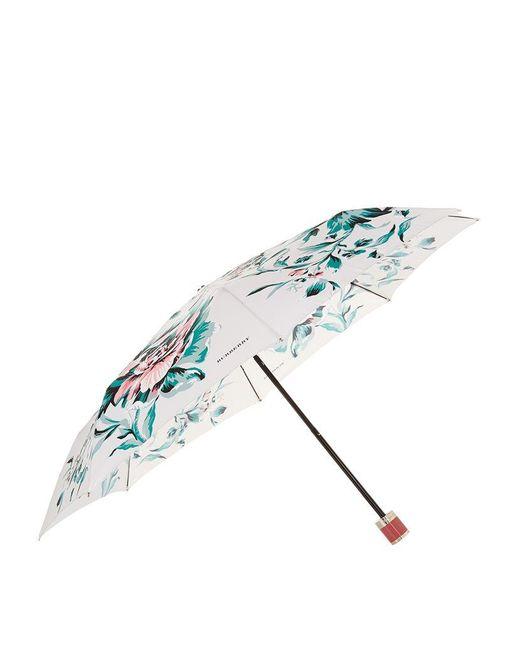 Burberry | Blue Peony Rose Print Folding Umbrella | Lyst