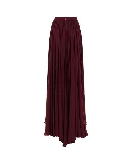 elie saab pleated silk maxi skirt in purple lyst