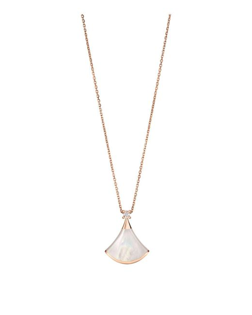 BVLGARI   Metallic Rose Gold Mother-of-pearl And Diamond Divas' Dream Fan Necklace   Lyst
