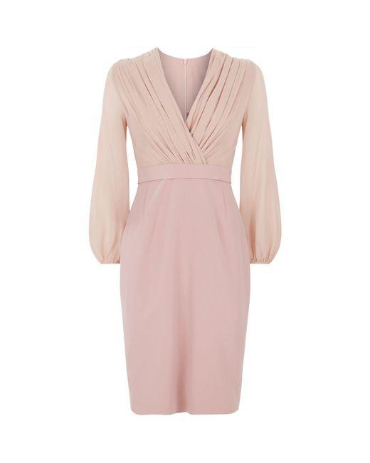 Max Mara - Pink Gathered Chiffon Dress - Lyst