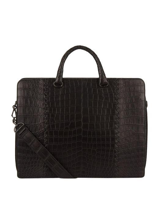 Bottega Veneta - Black Crocodile Portfolio for Men - Lyst