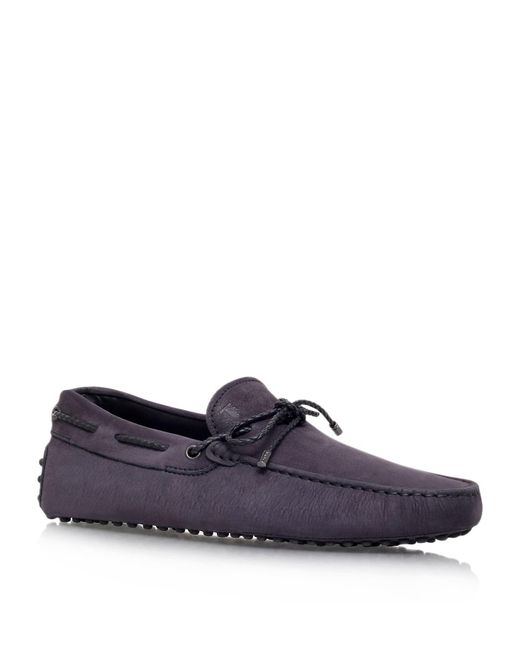Tod's - Blue Laced Gommino Nubuck Driving Shoe for Men - Lyst