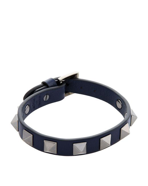 Valentino | Blue Leather Rockstud Bracelet | Lyst