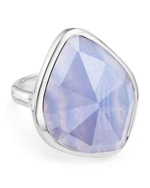 Monica Vinader | Metallic Siren Nugget Blue Lace Agate Cocktail Ring | Lyst