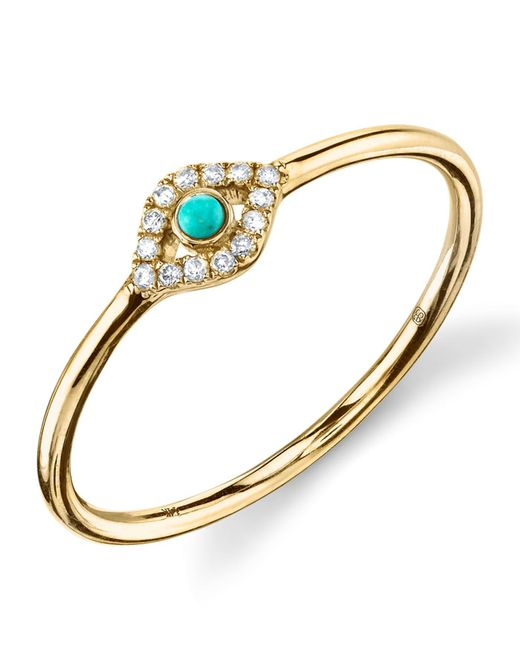 Sydney Evan - Metallic Turquoise Diamond Evil Eye Gold Ring - Lyst