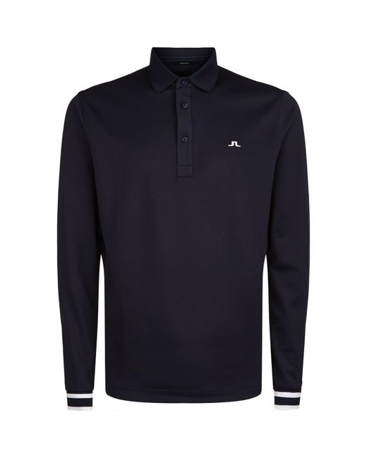 J.Lindeberg - Blue Long Sleeve Golfing Polo Shirt for Men - Lyst